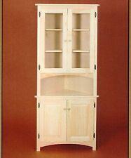 Charmant Amish Unfinished Solid Pine Corner Hutch China Cabinet Rustic Wood Handmade