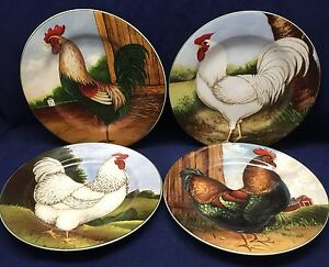 Image is loading 4-David-Carter-Brown-ON-THE-FARM-Rooster- & 4 David Carter Brown ON THE FARM Rooster Salad Bread Dessert Plates ...