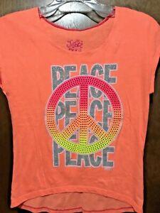 Justice Neon Orange Peace Glitter Top Shirt Size 12 ~C