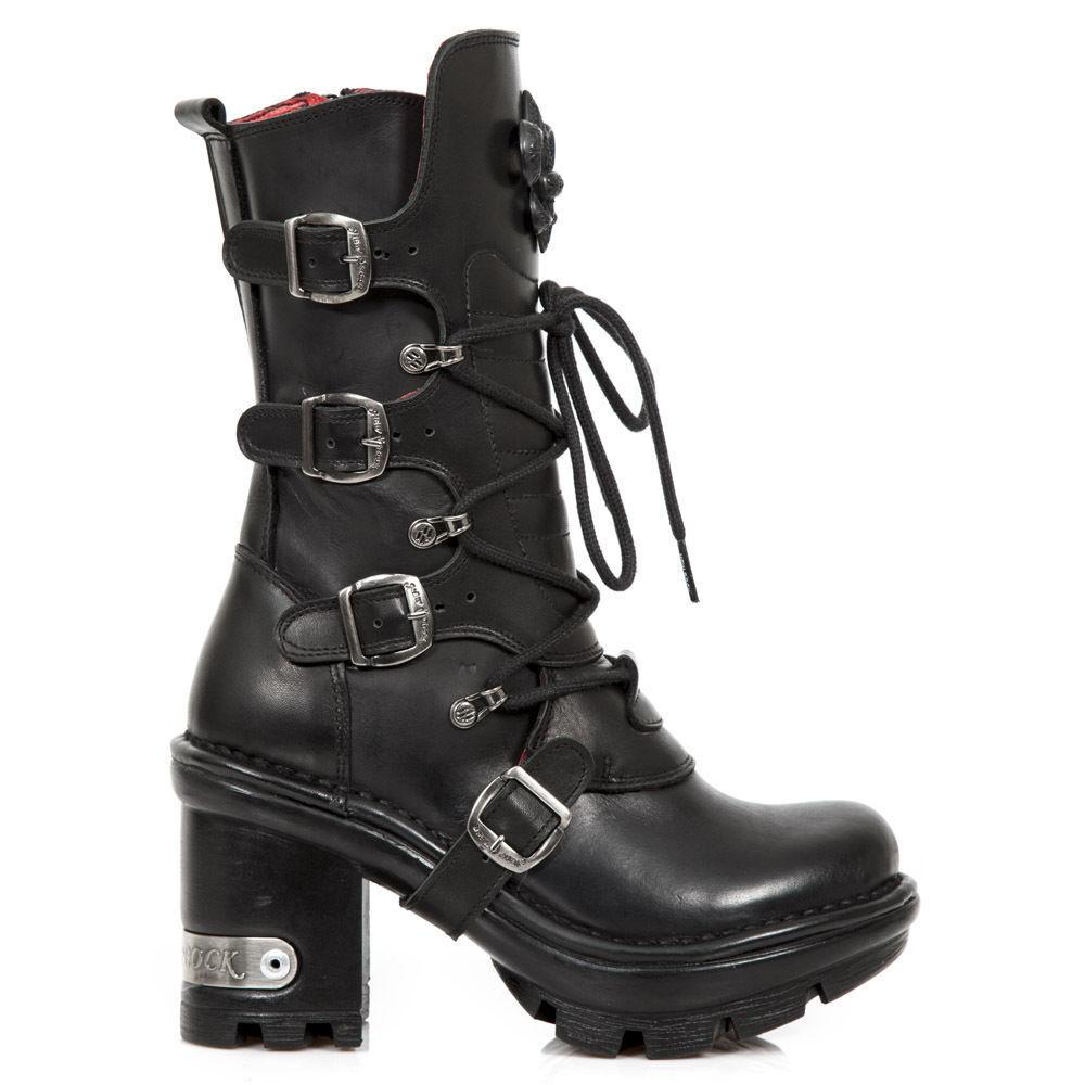 Newrock New Rock neotyre - 05 S1 Negro Metálico Damas Cuero goth biker boots