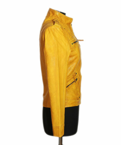 Retro Biker Style Jacket Kelly Ladies New Leather Lambskin Fashion Yellow Real qtXpn4wSx