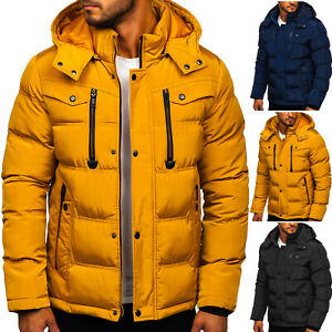 Winterjacke-Parka-Warmejacke-Steppjacke-Kapuze-Winter-Herren-Mix-BOLF-Unifarben