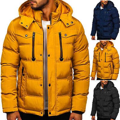 Winterjacke Parka Wärmejacke Steppjacke Kapuze Winter Herren Mix BOLF Unifarben