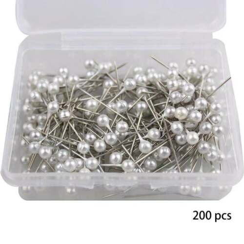 Dressmaking Pins Round Pearl Head Sewing Pins 200 PCs Wedding Decorating Crafts