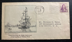 1932-Chester-PA-USA-First-Day-Cover-FDC-William-Penn-Landing-Anniversary