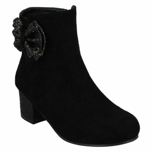Details about  /ANNE MICHELLE GIRLS BLACK GLITTER HEEL PARTY CASUAL WINTER ANKLE BOOTS H5R089