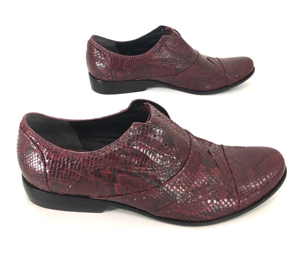 Pour La Victoire femmes Laceless Oxfords chaussures chaussures chaussures Maroon Snake Print Leather Sz 7.5 b0145f