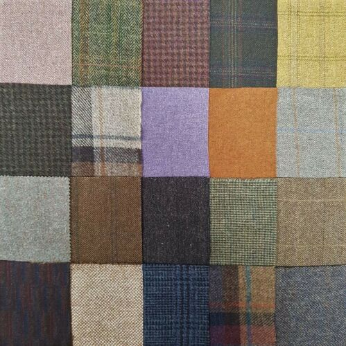 "British Tweed 20 Pieces 100/%Wool 10x10cm 4x4/"" Remnant OffCut Squares *Not Harris"