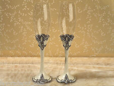 Sophisticated Ivory Fleur De Lis Toasting Glasses Wedding Flutes