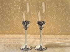 Sophisticated Ivory Fleur De Lis Toasting Glasses Wedding Flutes
