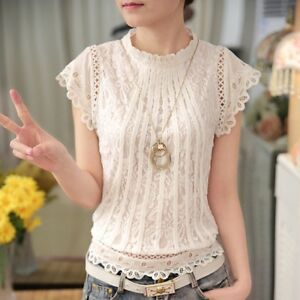 New-Fashion-Womens-Lace-Crochet-Short-Sleeve-White-T-Shirt-Blouse-Tops-Plus-Size