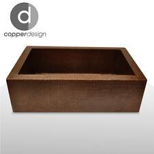 "Hand Hammered Copper Apron Farmhouse Kitchen Sink 22""x16"""