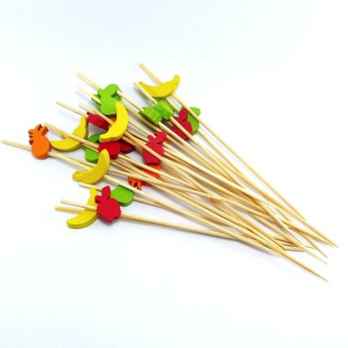 Bamboo Nature Skewer Sticks Cute Fruit Cake Cocktail Topper Cupcake Drink Party