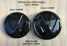 VW Polo Gloss Black Front Grille & Rear Boot Badge Emblems - 2014 ON -UK Seller