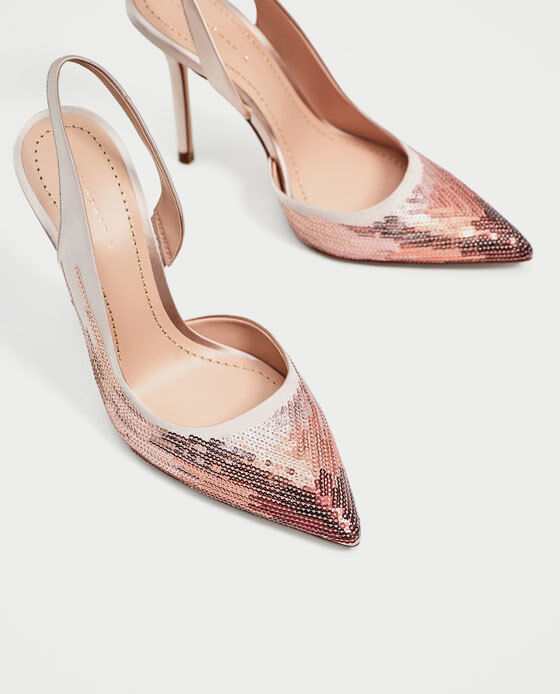 ZARA WOMEN SEQUINNED HIGH HIGH HIGH HEEL SLINGBACK SHOES PINK  SZ 7.5 NEW 9b4079