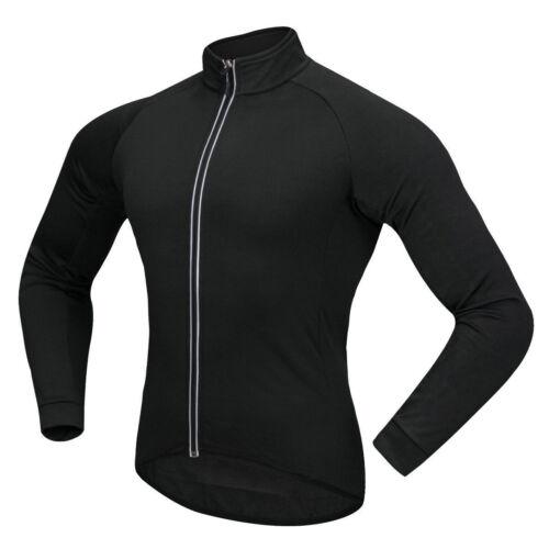 Mens Thermal Fleece Cycling Jacket Long Sleeve Jersey Windproof Winter Warm Coat