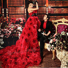 2014 Red Prom Party Quinceanera Pageant Cocktail Ball Gown Train Wedding Dresses