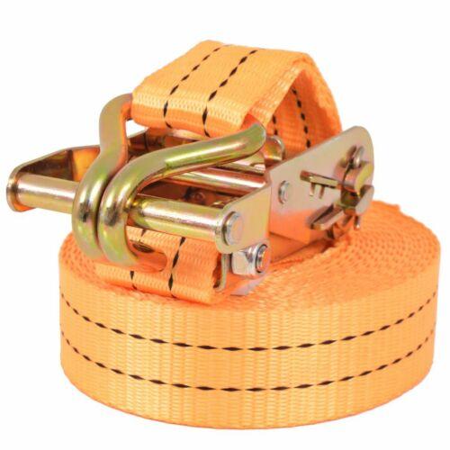 vidaXL 4x Spanband 1 ton 6mx38mm Oranje Bagagegordel Sjorband Spanbanden