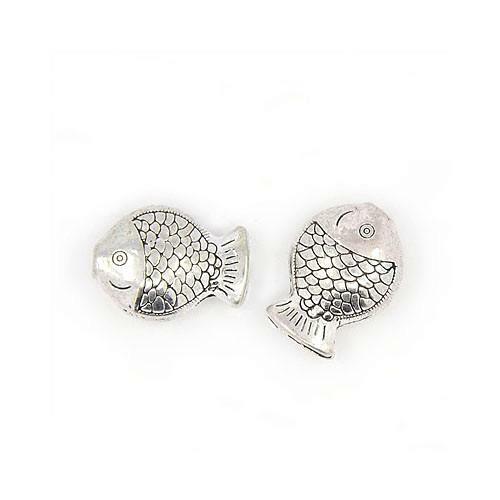 Tibetan Fish Beads 11 x 14mm Antique Silver 20 Pcs Art Hobby Jewellery Making