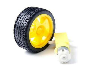 Pop arduino smart Car Robot Plastic Tire Wheel with DC 3-6v Gear Motor Hot And