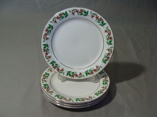 4 Everyday Gibson Salad Plates In The Holiday Gold Pattern With Holly /& Berries