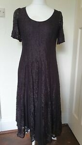 Floral-Lace-Panel-Goth-Alternative-Style-Dress-Size-10
