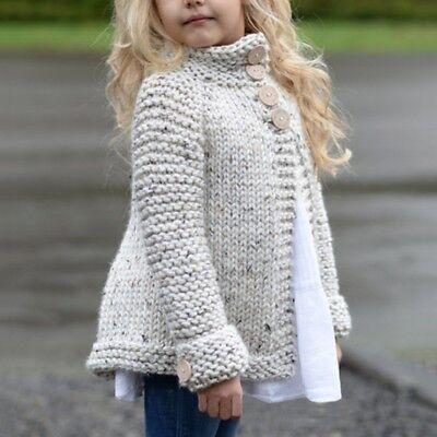 1df9034c7 Kids Girl Baby Winter Warm Wool Knitted Jacket Coat Outerwear ...