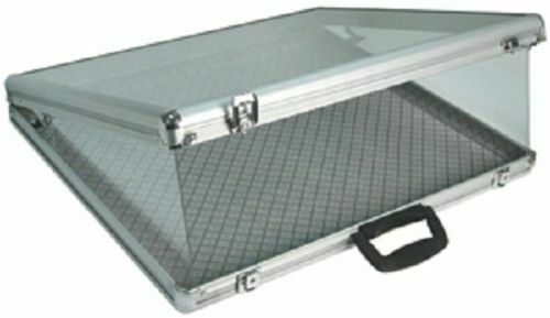 """Key Locking LargAluminum Tempered Glass-Top Display Case  24/"""" W x 20/"""" D and 3/"""" H"""