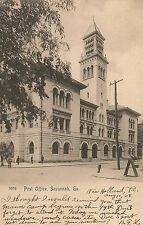 Post Office in Savannah GA Postcard 1908