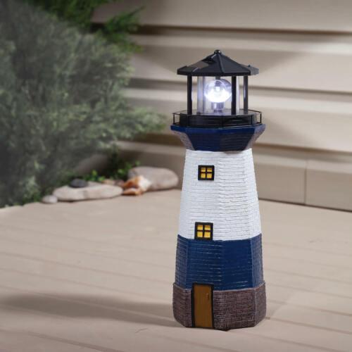 Solar Powered Functional White /& Blue Lighthouse Outdoor Garden Statue