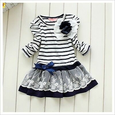 Girls Kids Lace Skirt One-Pieces Long Sleeve Bowknot Flower Stripes Dress 1-6Y
