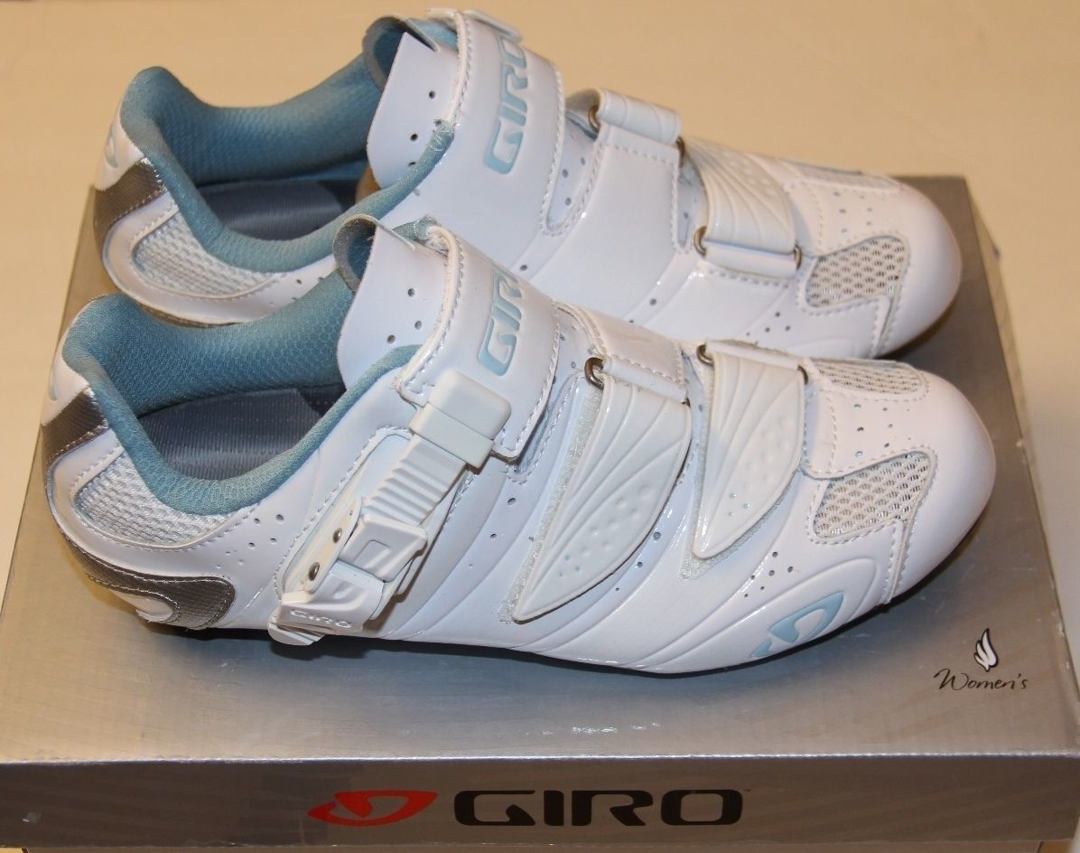 Giro Women's Factress EC90 Carbon Road Bike shoes - Size 40.5 - White bluee - NEW