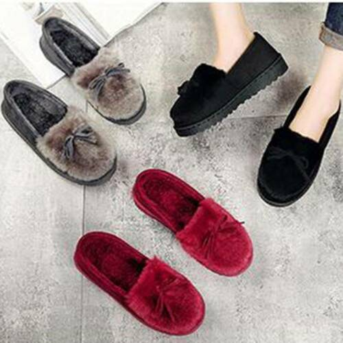 Bow Beanie Chaussures Hiver Chaud Simple Casual Outdoor fourrure Mignon Indoor chaussons FA