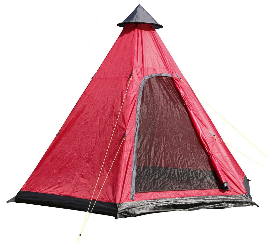 Tipi Zelt für 4 Personen - - Personen 350 x 300 cm / rot - Campingzelt Familienzelt Wigwam 7f7be9