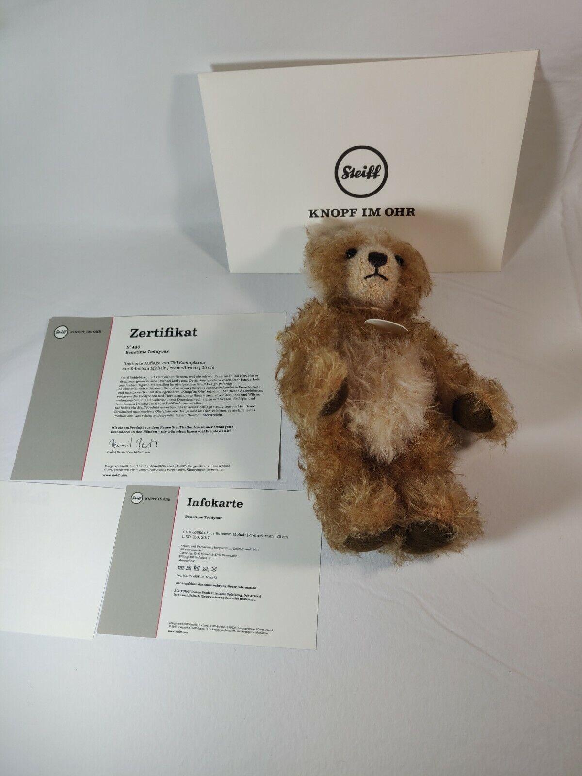 STEIFF  BENOTIME TEDDY BEAR  EAN 0065224 CREAM marróne MOHAIR-LIMITED EDITION