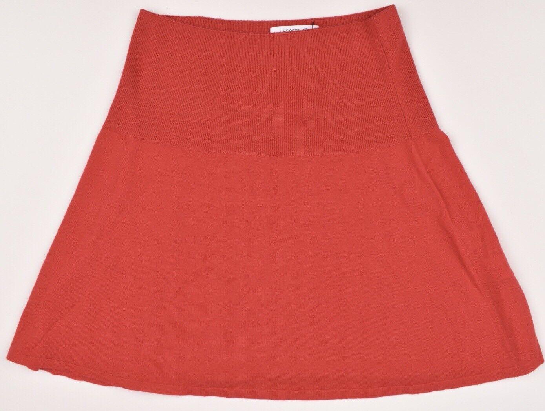 LACOSTE Women's Red Knitted MERINO WOOL Skirt, size   FR 36