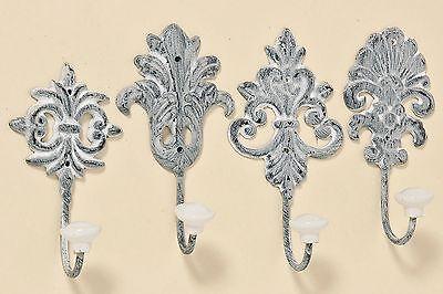Haken 4er Set Metall antikgrau mit Porzellanköpfen shabby antik Kleiderkaken
