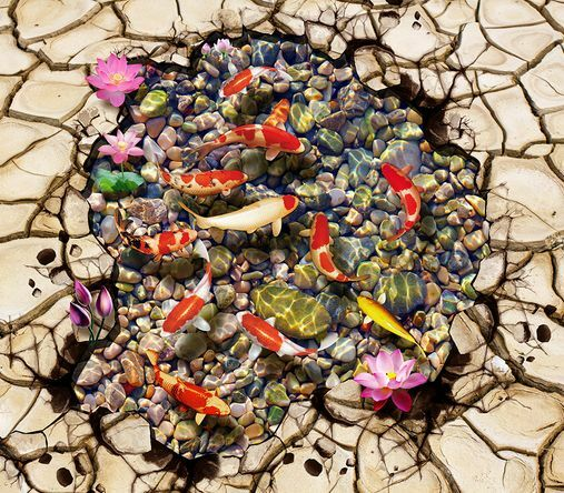 3D tierra firme Peces Piedra Papel Pintado Mural Parojo Calcomanía de impresión de piso 5D AJ Wallpaper