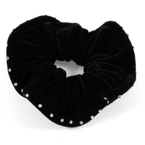 Damen Kuenstlich Strass Dekoration Elastische Samt Haar Krawatte Haargummi  U9U4