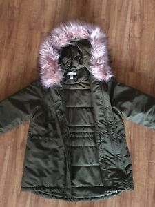 0cf11929841 Details about H&M Women's Army Green Padded Parka Jacket Coat W/ Pink Faux  Fur Trim Size XS