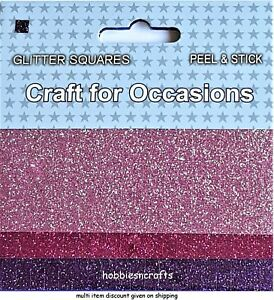 CRAFT-FOR-OCCASIONS-PEEL-amp-STICK-GLITTER-SQUARES-PACK-OF-3-DIFFERENT-PURPLES