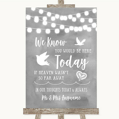 Navy Blue Burlap /& Lace Effect Loved Ones In Heaven Personalised Wedding Sign