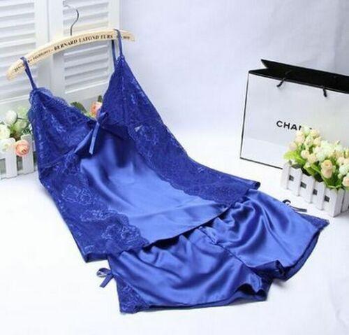 Women Sleeping Wear Summer Pajama Sets Lace Trim Satin Strap Cami Top Shorts New