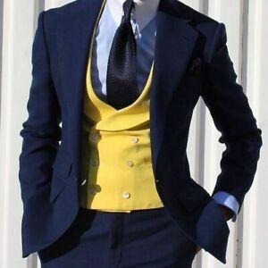 3-Pcs-Wedding-Men-Suits-Slim-Fit-Notch-Lapel-Tuxedos-Navy-Blazer-Yellow-Vest-New