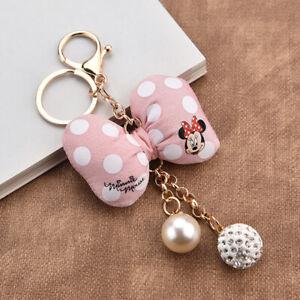 Cute-Mickey-Minnie-Mouse-Key-chain-Polka-Dot-Bow-Knot-Keychain-Bag-Car-Keyring