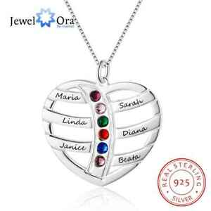 Family-Gift-Mom-Mother-Love-Heart-Pendant-Chain-Birthstone-Name-Necklace-Jewelry