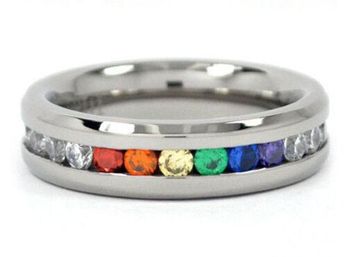 Pride Shack - String of Rainbow & Full CZ Ring LGBT Lesbian Gay Pride Ring Sizes