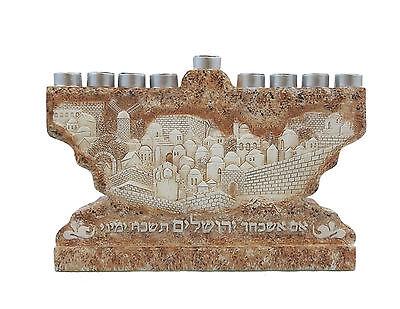 Stone Styl Menorah Jewish Gift Chanukiah Hanukia Chanukah Hanukkah Candle Holder