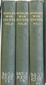 World-s-War-Events-by-Francis-Reynolds-1919-Complete-in-3-Vol-Rare-Book