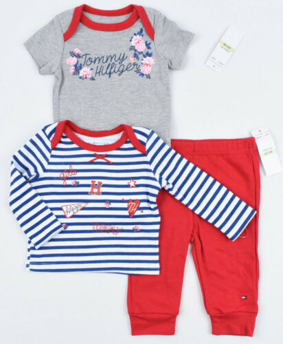 TOMMY HILFIGER Baby Girls/' Adorable 3-pc Set Top Bodysuit Joggers